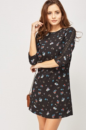 Crochet Sleeve Insert Printed Dress