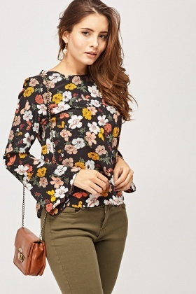 Flare Sleeve Floral Printed Top