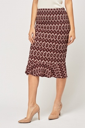 Flared Hem Printed Skirt