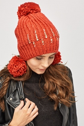 Knitted Red Encrusted Trapper Hat