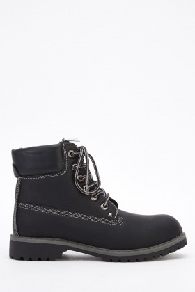 Faux Leather Black Ankle Boots