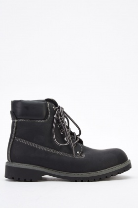 Faux Leather Contrast Mens Boots
