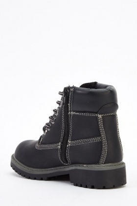 Kids Contrast Heeled Ankle Boots