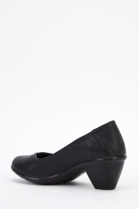 Mid Heel Faux Leather Shoes