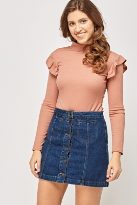 Frilled Sleeve Ribbed Top