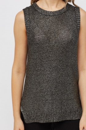 Metallic Waxed Sleeveless Knit Top