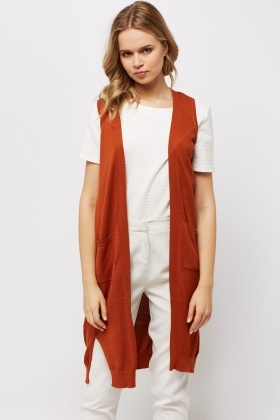 Sleeveless Long Cardigan