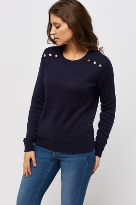 Detailed Button Casual Jumper