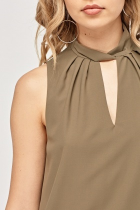 Detailed Neck Sleeveless Sheer Top