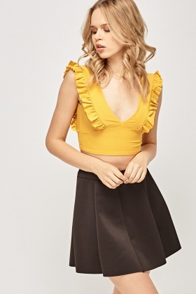 Frilled Plunge Crop Top