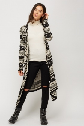 Aztec Thin Knitted Waterfall Cardigan - Just £5
