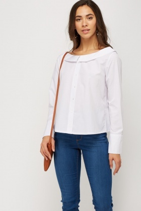 Button Up White Casual Top