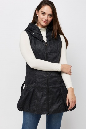 Ruched Collar Speckled Sleeveless Jacket