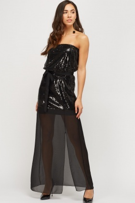 Sequin Bodice Mesh Bandeau Dress