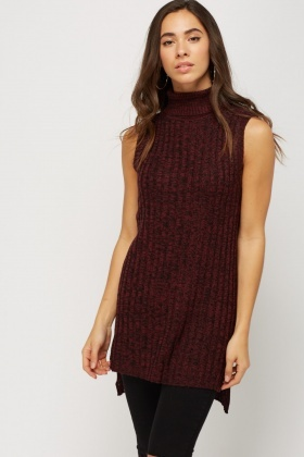 Speckled Ribbed Knitted Sleeveless Top