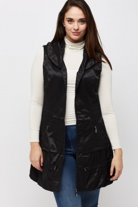 Hi-Shine Sleeveless Longline Jacket