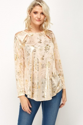 Metallic Print Cut Out Top