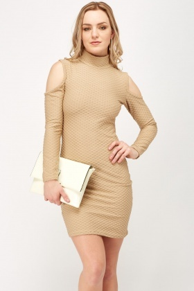 Cold Shoulder Textured Bodycon Dress