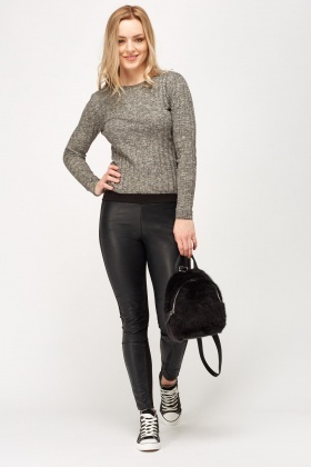 Faux Leather Front Contrast Leggings