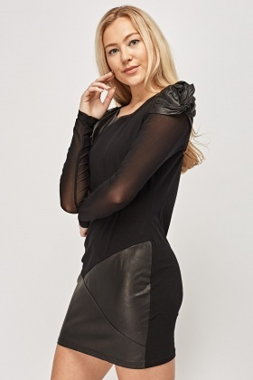 Faux Leather Contrast Mini Dress