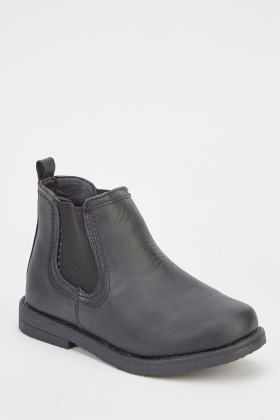 Faux Leather Kids Ankle Boots
