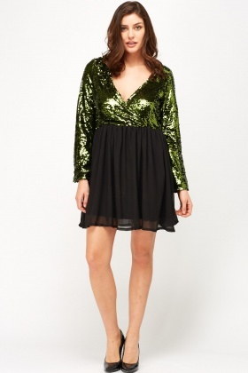 Wrap Sequin Mini Dress