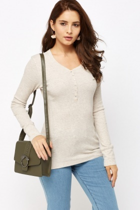 Beige Ribbed Casual Top