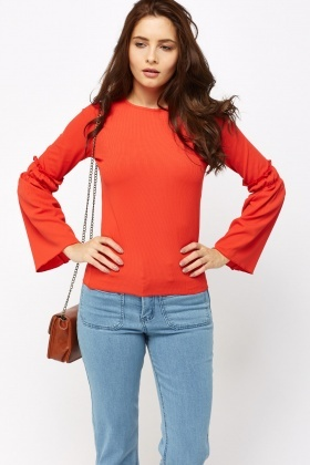 Ruched Flare Sleeve Ribbed Top