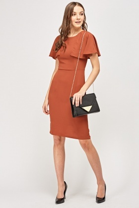 Cape Sleeves Rust Dress