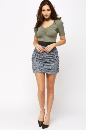 Ruched Floral Mini Skirt