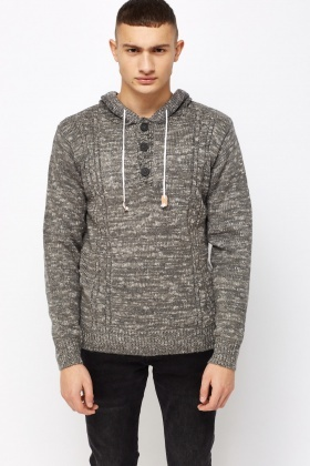 Speckled Hooded Casual Jumper