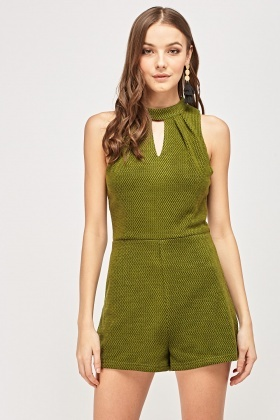 Cot Out Front Textured Playsuit