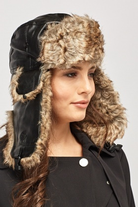 Faux Leather Padded Trapper Hat