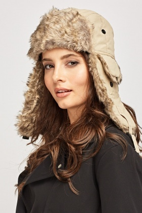 Two Tone Faux Fur Trapper Hat