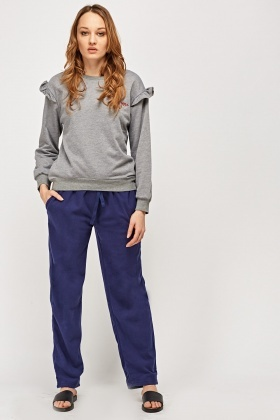 Fleece Navy Jogger Pants
