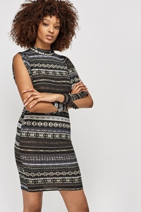 Slit Sleeve Jumper Dress