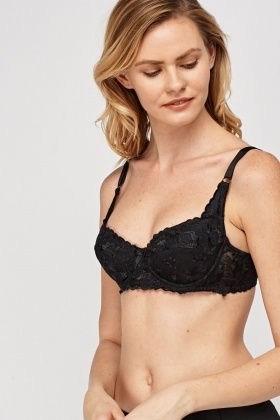 Floral Lace Overlay Bra