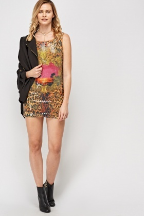 Sequin Printed Mini Dress