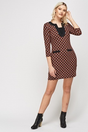 Printed Contrast Thin Knit Dress