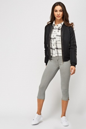Grey 3/4 Leg Jeggings
