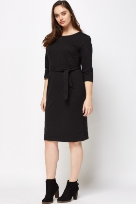 Heart Embossed Tie Up Dress