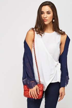 Wrap Tie Up Side Sleeveless Top
