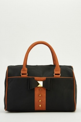 Bow Detail Faux Leather Bag