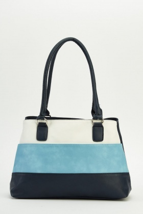 Colour Block Front Faux Leather Bag