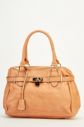 Padlock Detailed Faux Leather Bag