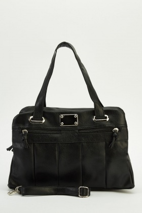 Pocket Front Faux Leather Handbag