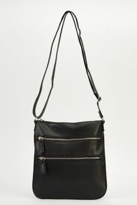 Zip Detailed Front Crossbody Bag
