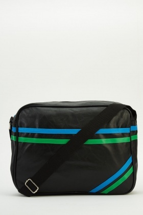 Contrast Twin Stripe Messenger Bag