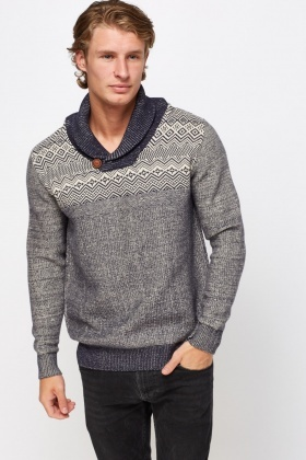 Geo Knitted Speckled Jumper