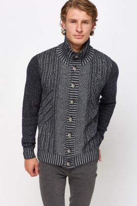 High Neck Cable Knit Cardigan